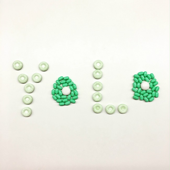 mints spelled out to say YOLO