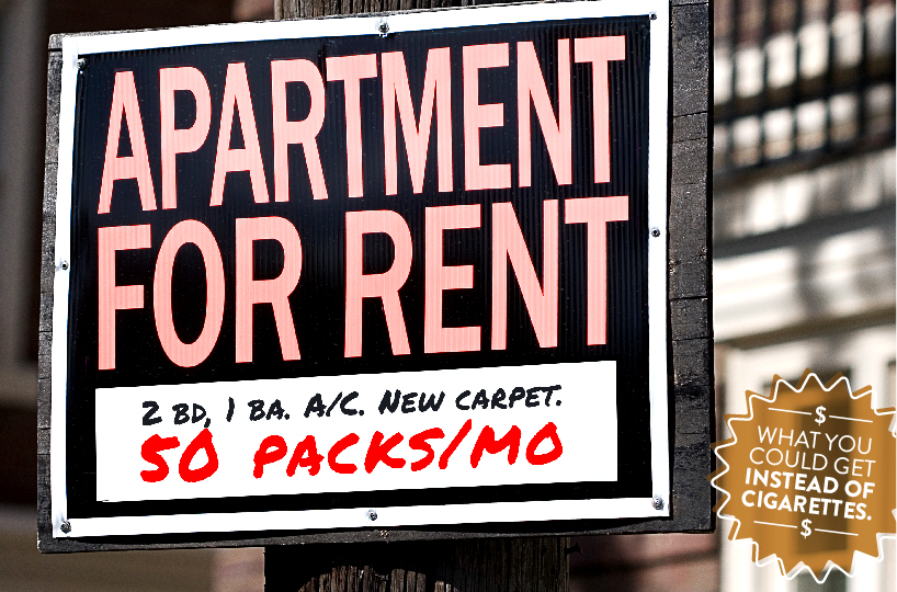 apartment for rent 2 bed 1 bath AC new carpet 50 packs a month - what you could get instead of cigarettes