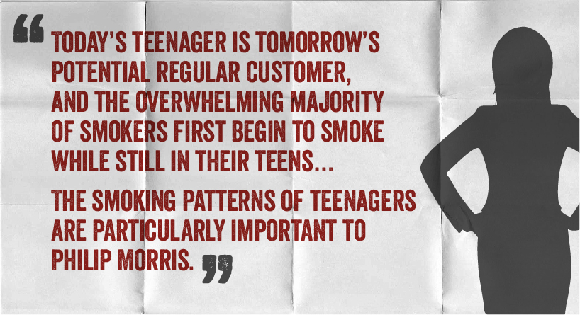 Today's teenager is tomorrow's potential regular customer, and the overwhelming majority of smokers first begin to smoke while still in their teens...the smoking patterns of teenagers are particularly important to philip morris