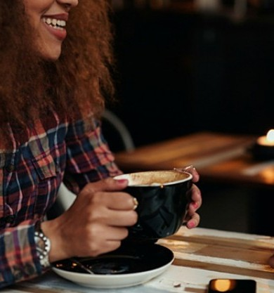 girl drinking coffee