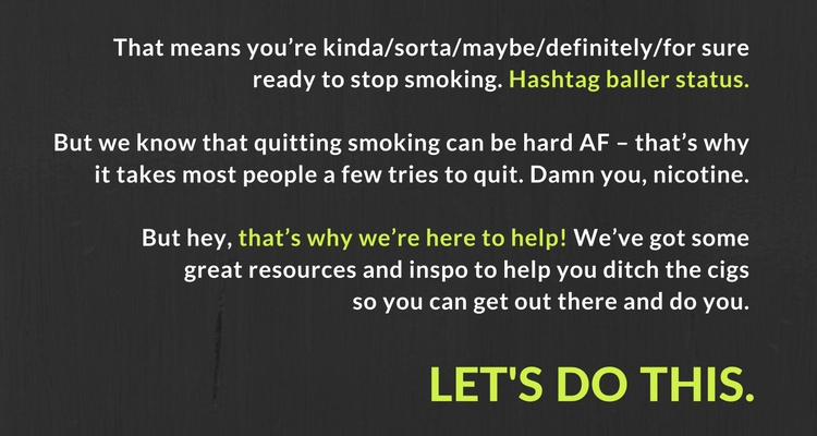 lets do this - tips for quitting smoking